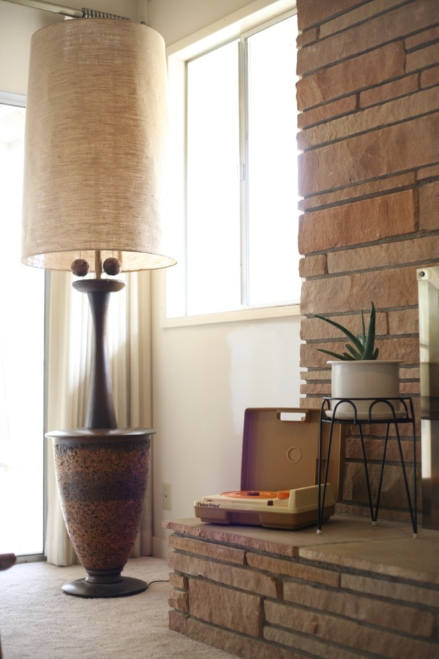 mid century danish modern teak floor lamp cork