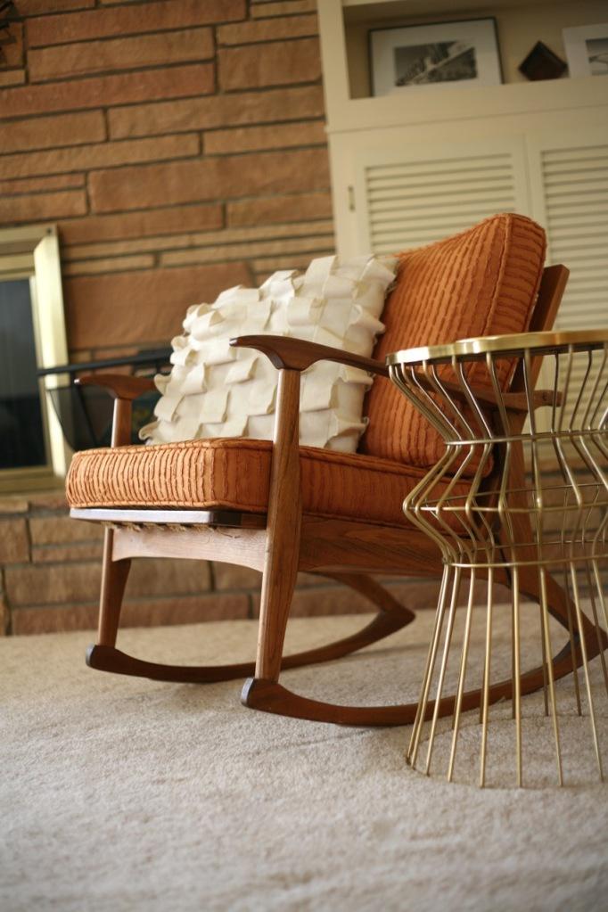 danish modern mid century rocker rocking chair target wire side table brass