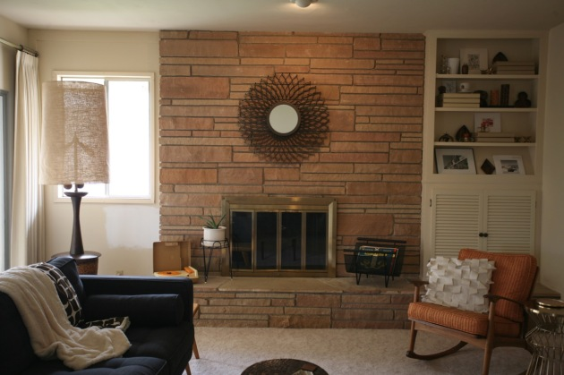mid century rock fireplace 1960's