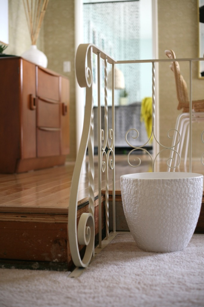 vintage mid century wrought iron railing interior living room 1960's house