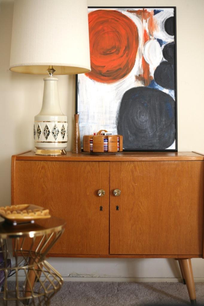 vintage sewing cabinet credenza lamp