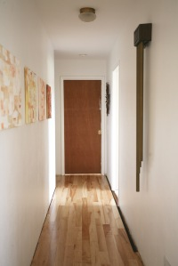 mid century pocket door hallway