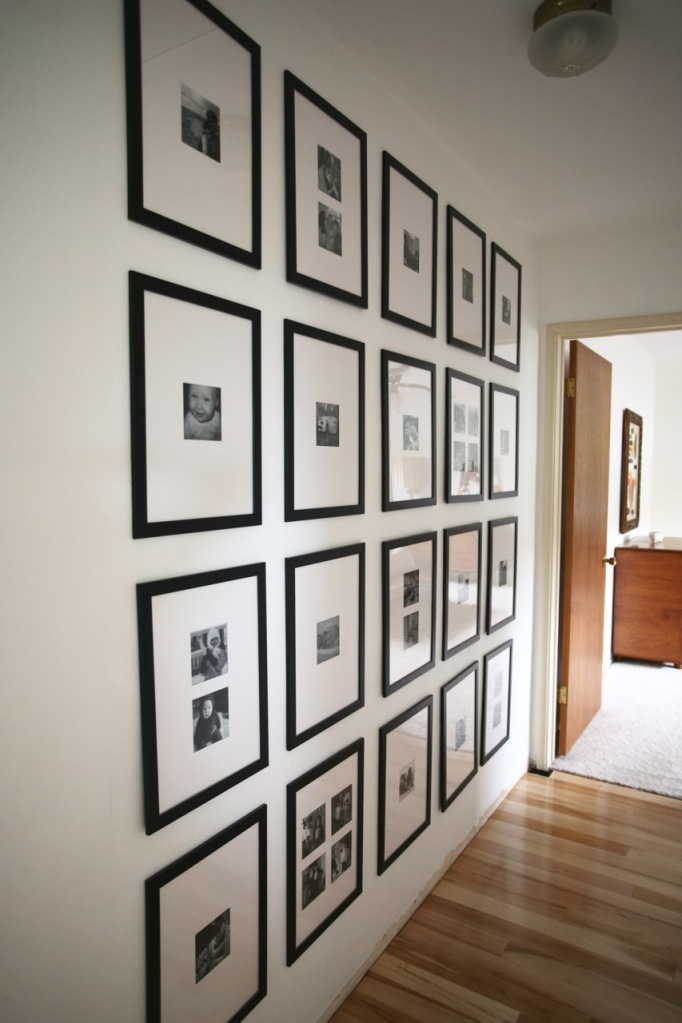 black white gallery wall family hall
