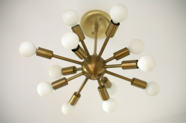 sputnik chandelier light brass vintage mid century