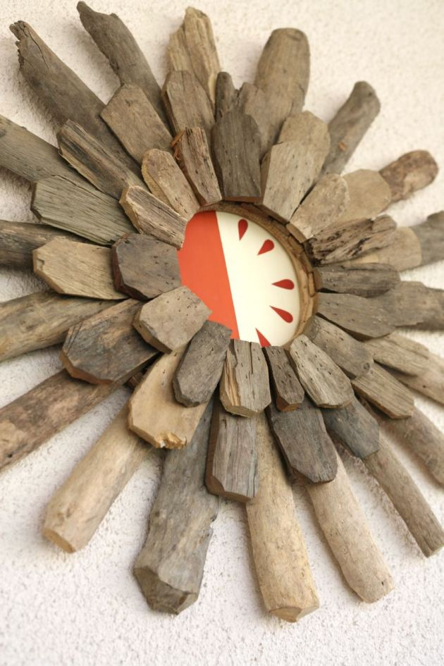 diy teardrop driftwood starburst wall hanging painting covering hole in wall stucco patio