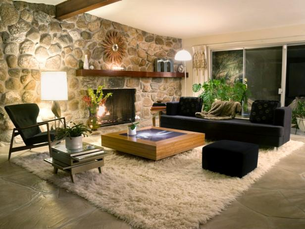 Stylish Midcentury-Modern Living Room With Stone Wall HGTV