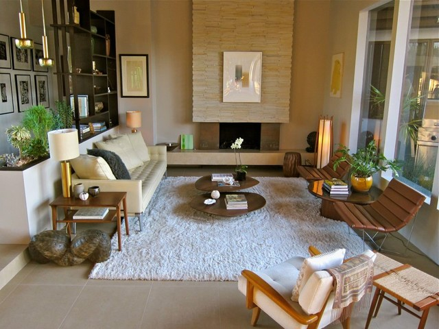 Santa Monica Mid Century Living Room Houzz Natalie Epstein Design