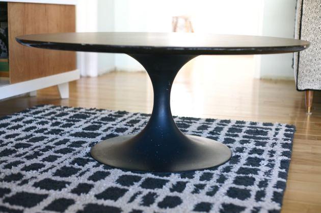 vintage tulip table coffee knoll saarinen burke laminate top black base
