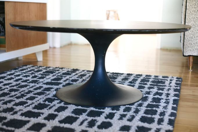 vintage tulip table coffee knoll saarinen burke laminate top black base
