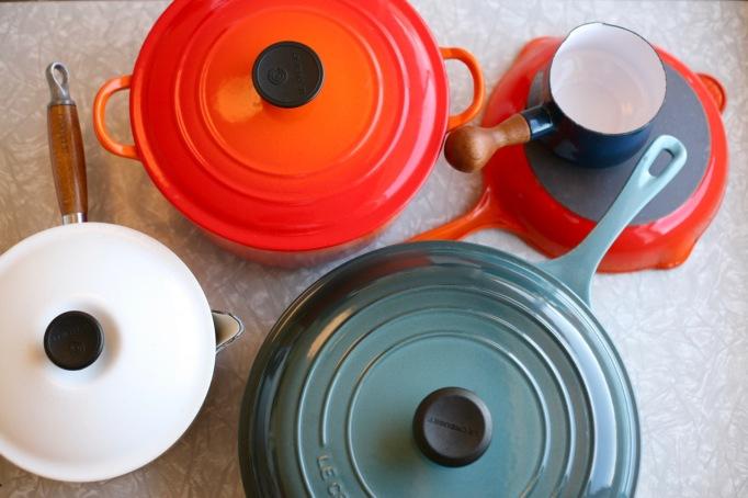 Cast Iron Enamel Pots Pans Vintage Le Creuset Dansk Kobenstyle Mid Century Cookware Flame Ocean Braiser Saute Pan Dutch Oven Saucepan Butterwarmer