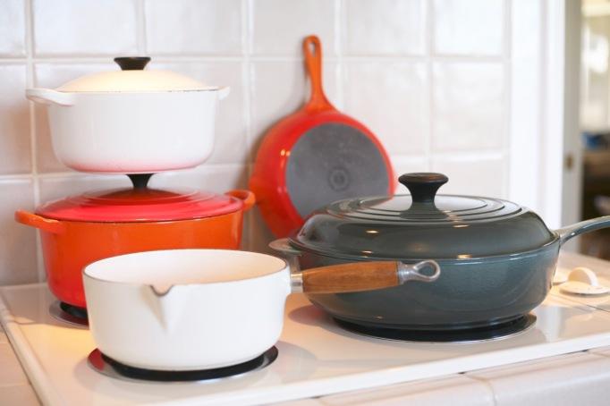 Vintage Le Creuset Orange dutch oven skillet ocean blue braiser white saucepan