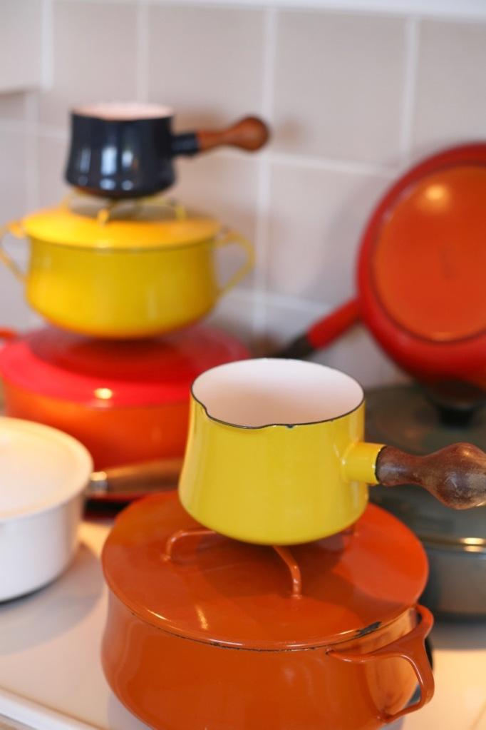 Cast Iron Enamel Pots Pans Le Creuset Dansk Kobenstyle Descoware vintage butter warmer