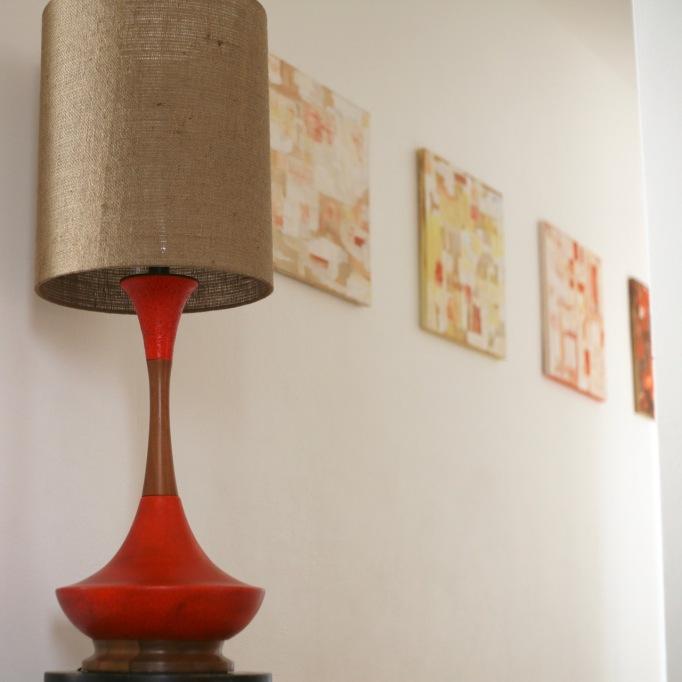 vintage mid century lamp orange lava genie teak huge