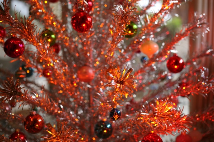 Aluminum Christmas Tree Color Wheel Orange Light