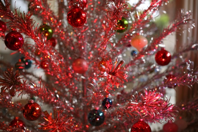 Aluminum Christmas Tree Color Wheel Pink Red Light