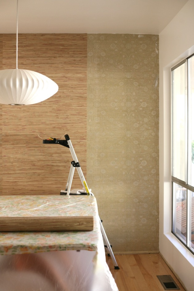 How to hang wallpaper over wallpaper diy grass cloth