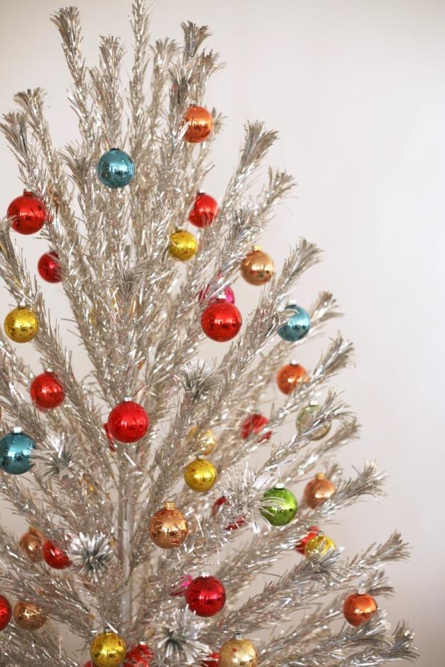 aluminum christmas tree pom pom colorful shiny brites - Vintage Aluminum Christmas Tree
