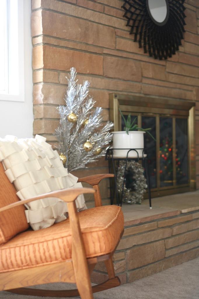aluminum christmas tree door hanging small mini vintage mid century