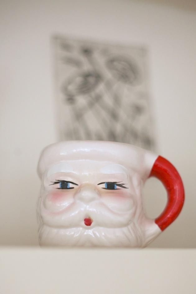 vintage mid century santa mug chrismtas