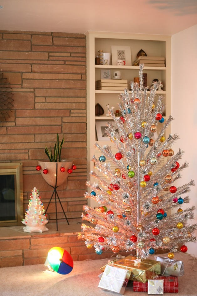 aluminum christmas tree vintage mid century ball ornaments shiny brite bullet planter rock fireplace