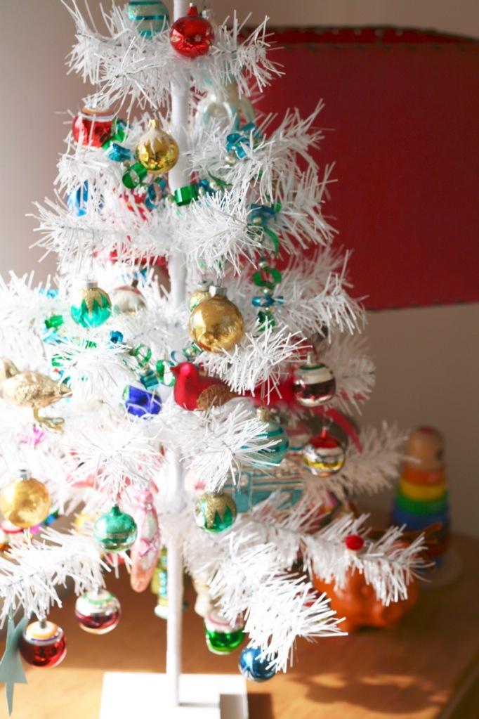 white Christas small mini tree vintage ornaments shiny brite vintage mid century