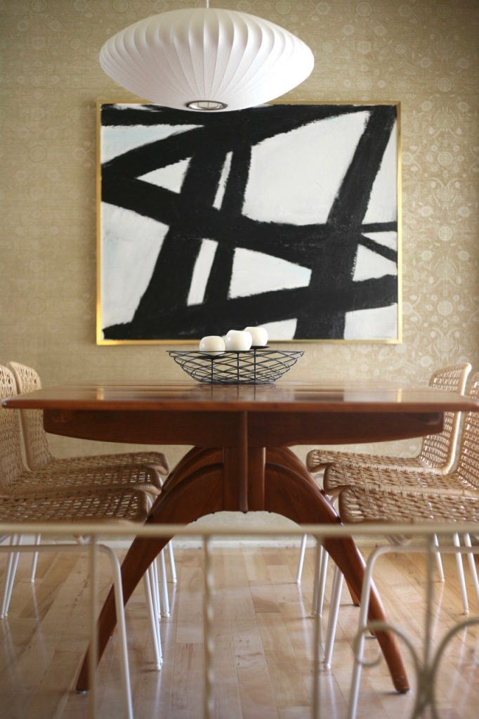 mid century dining room heywood wakefield wishbone table vintage wallpaper nelson bubble light