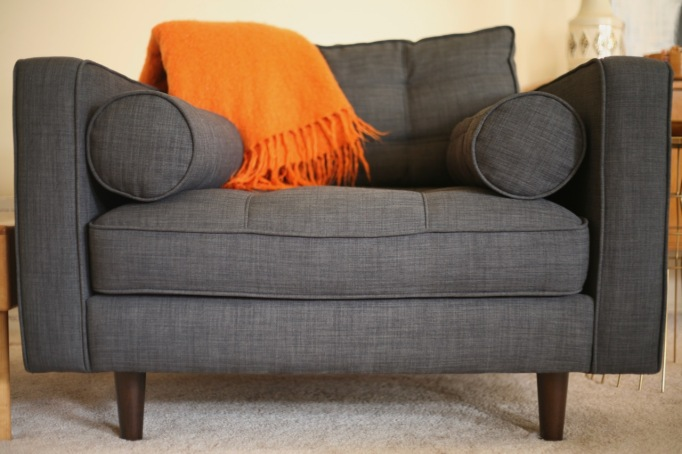 mid century style couch sofa chair charcoal JC Penney Darrin gray tufted bolster pillow upholstered