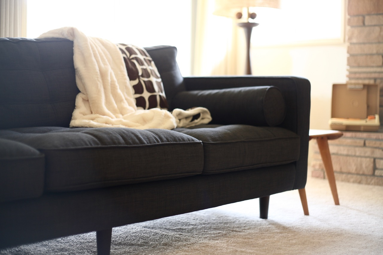 ... Mid Century Style Couch Sofa Chair Charcoal JC Penney Darrin Gray  Tufted Bolster Pillow Upholstered