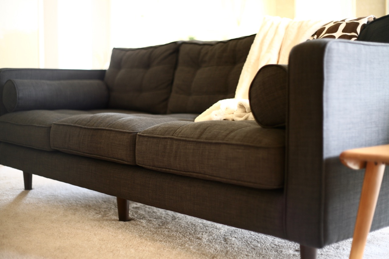 Good ... Mid Century Style Couch Sofa Chair Charcoal JC Penney Darrin Gray  Tufted Bolster Pillow Upholstered