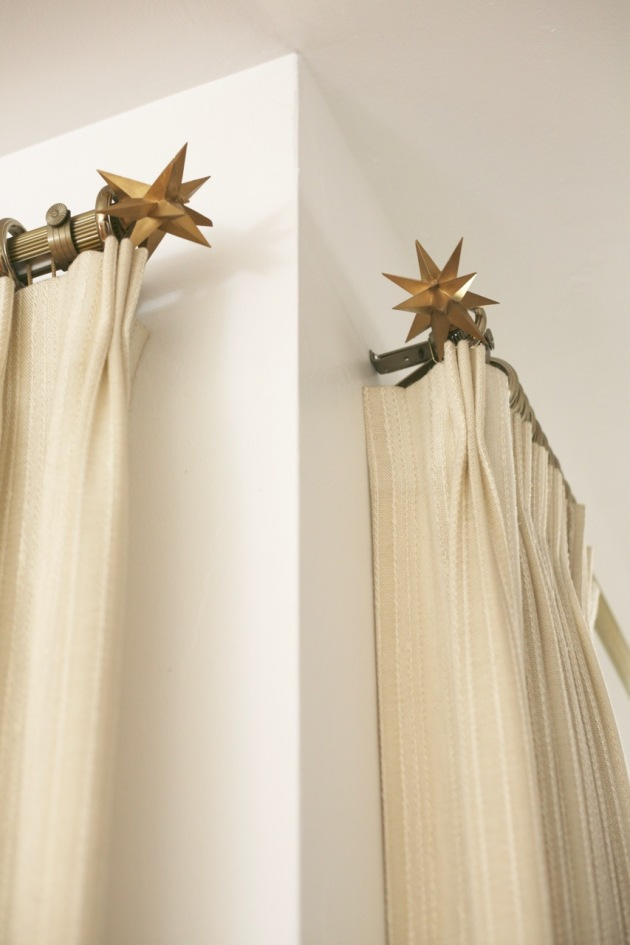 mid century curtain drapery rod finial starburst brass pinch pleat