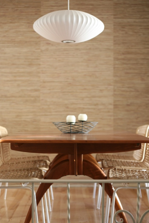 mid century dining room heywood wakefield wishbone table grasscloth wallpaper nelson bubble light