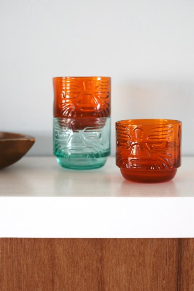 CB2 tiki glasses orange aqua