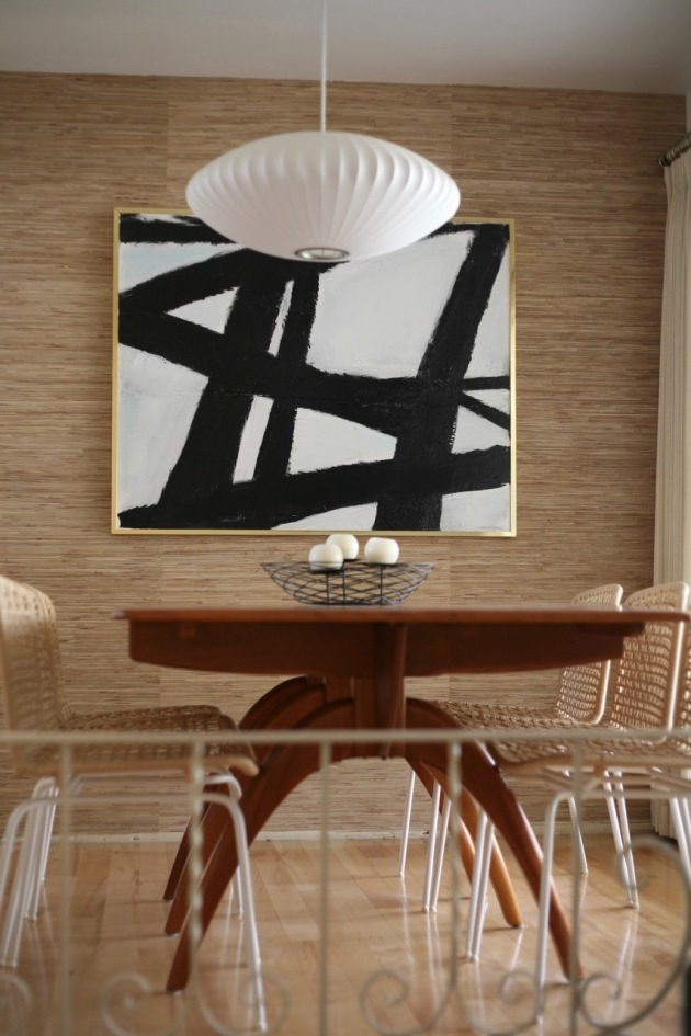 mid century dining room heywood wakefield wishbone table grasscloth wallpaper nelson bubble light abstract art