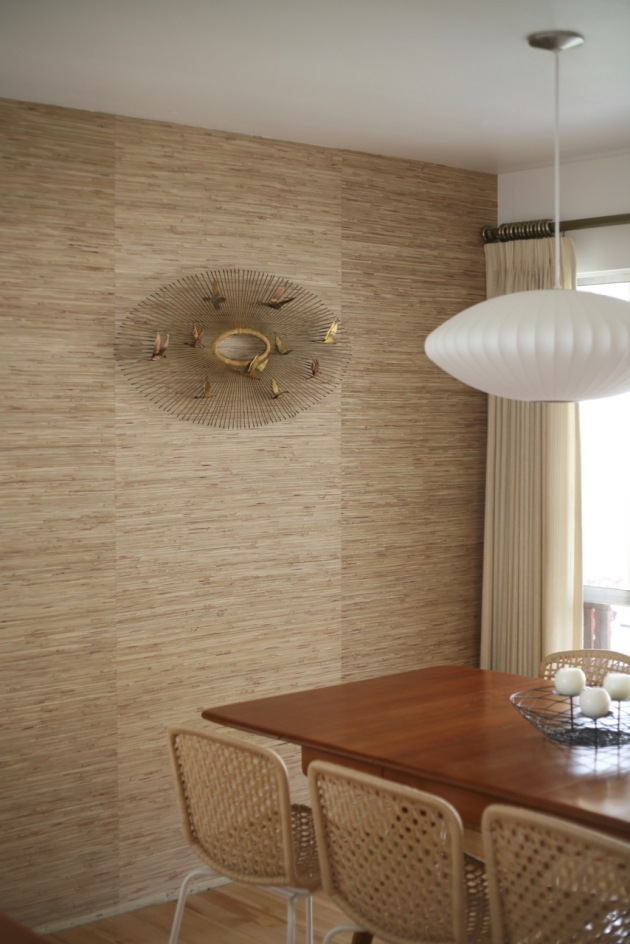 mid century dining room heywood wakefield wishbone table grasscloth wallpaper nelson bubble light jere