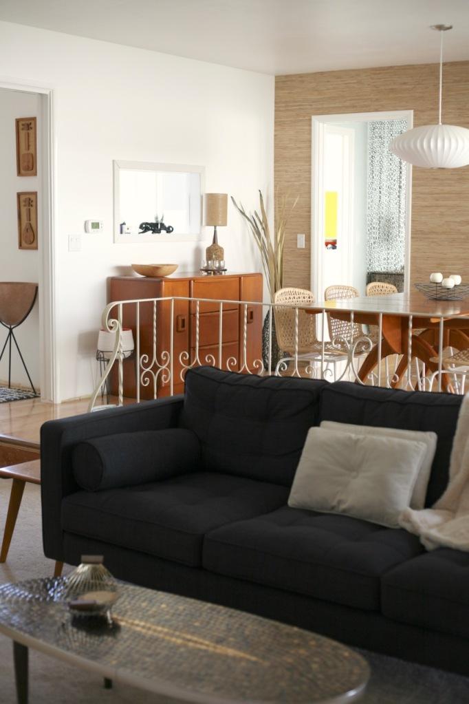 mid century sunken living family room couch railing rail heywood wakefield