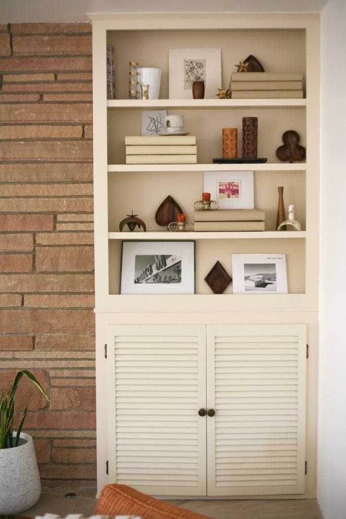 mid century fireplace shelf cabinet built-in