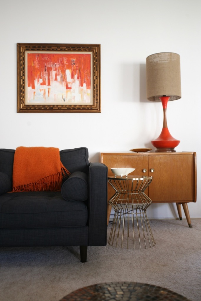 mid century living room darrin chair jcpenney target wire table orange danish lamp abstract painting