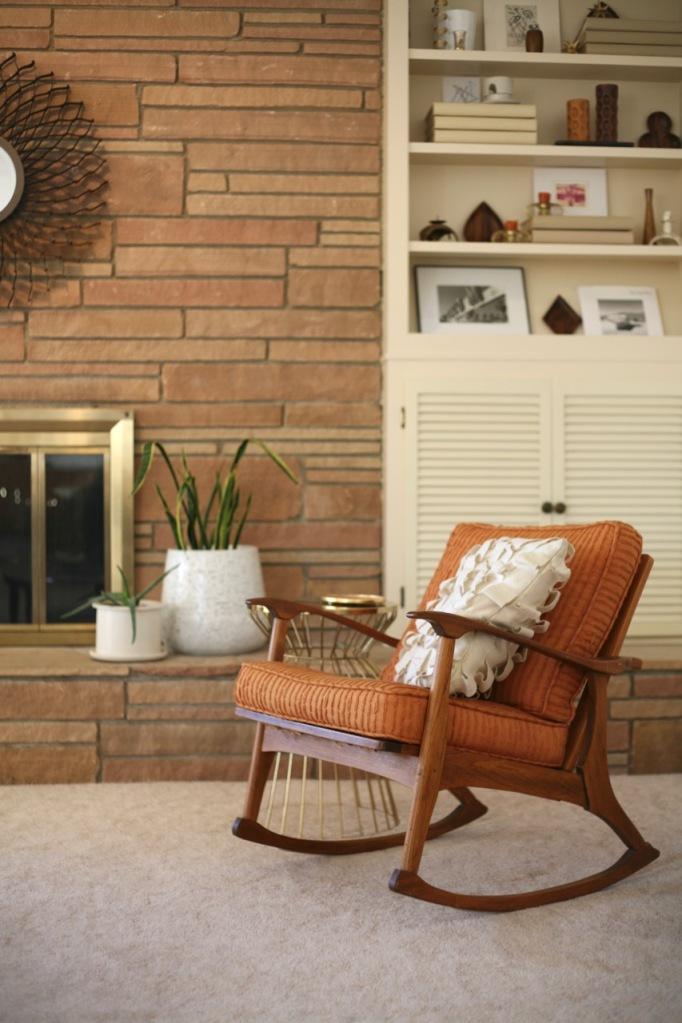 mid century rock fireplace danish modern rocking chair teak