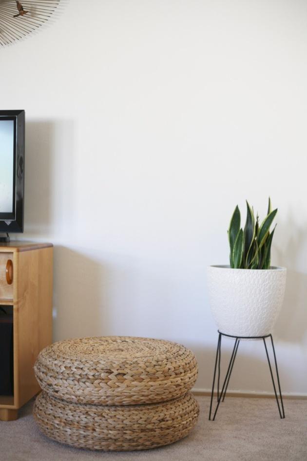 mid century ikea alseda stool pouf woven bullet planter