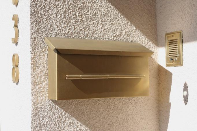 mid century mail box mailbox porch brass gold