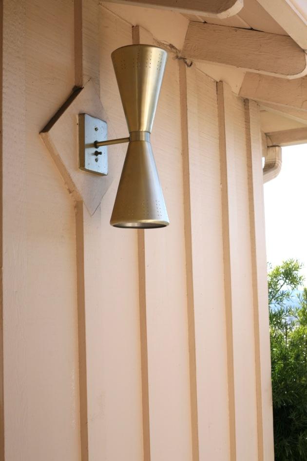 mid century double cone light bowtie lamp exterior porch