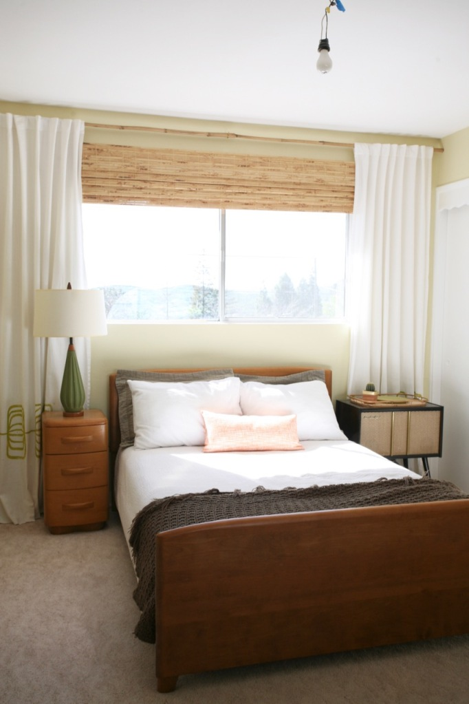 heywood wakefield niagara encore bedroom bed yellow walls behr rainforest dew bamboo blinds with curtains mid century