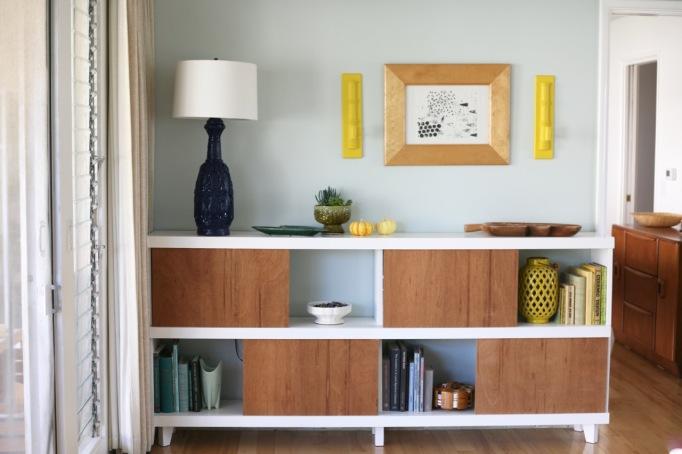 mid century bookshelf shelf sliding doors white vintage lamp