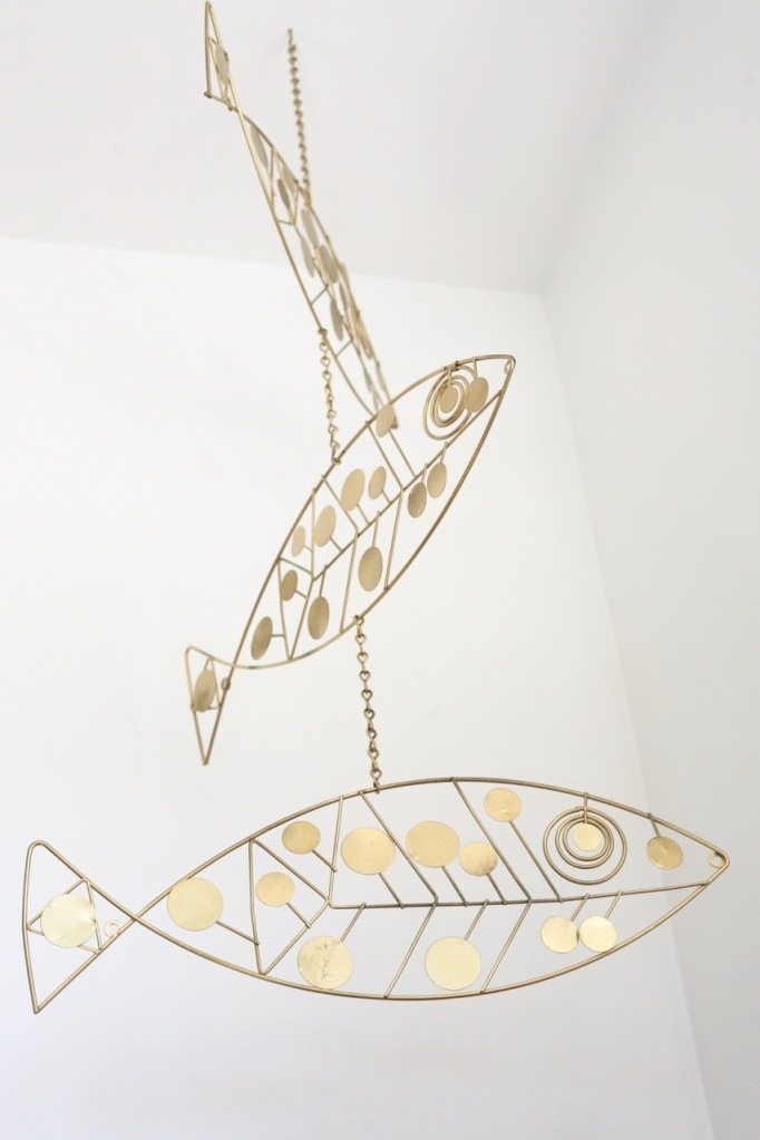 diy mid century fish mobile brass hanging wire
