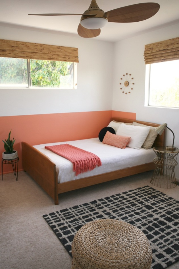 colorblock color block blocked colorblocked interior room coral pink peach black white diy behr sunset strip kid bedroom girl