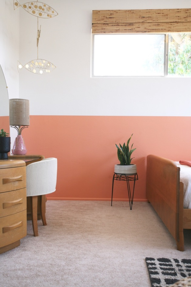 striped wall coral white