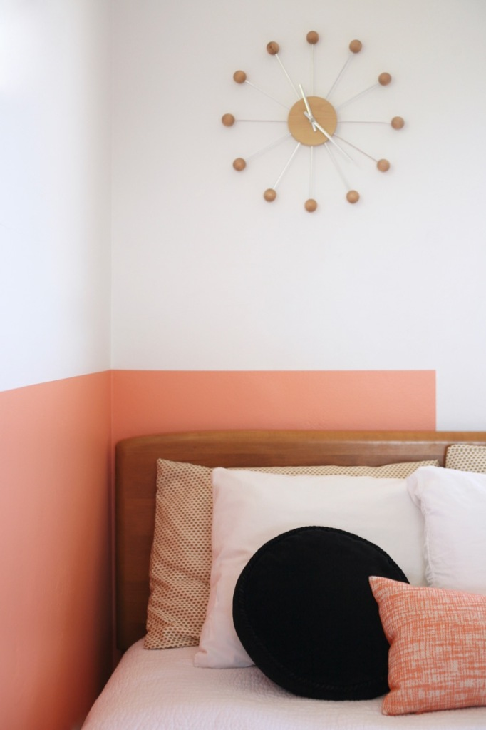 colorblock color block interior room bedroom coral pink peach black white diy behr sunset strip