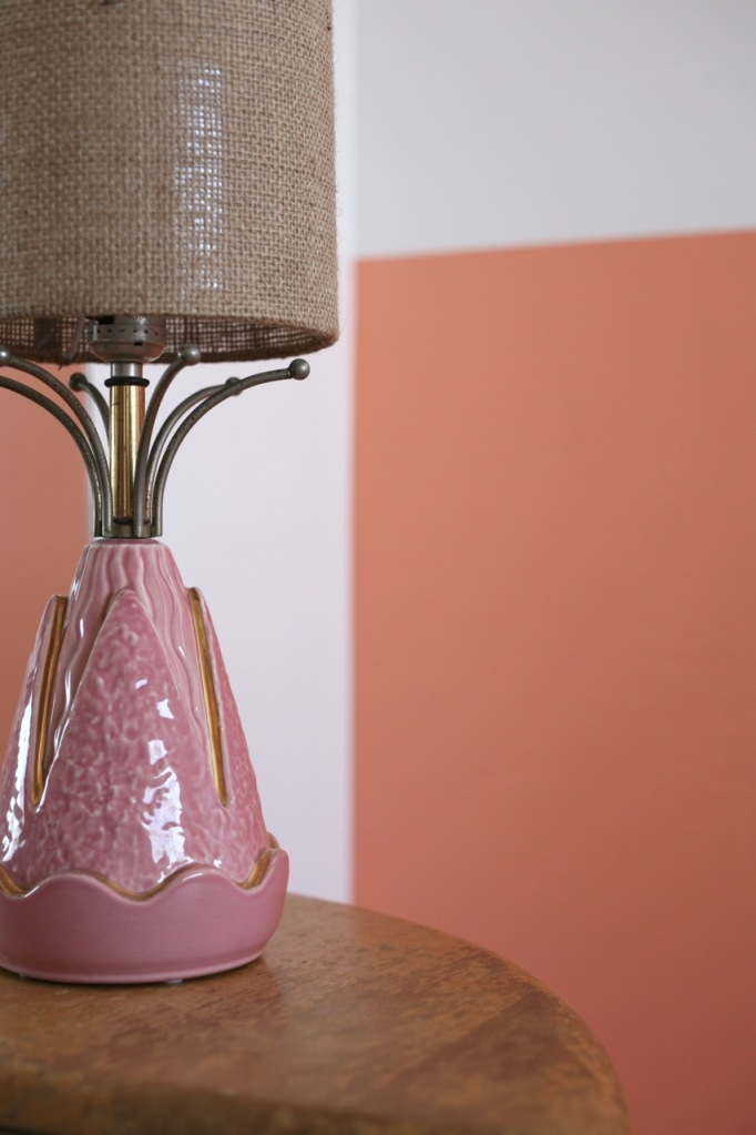 mid century retro pink lamp peach coral wall