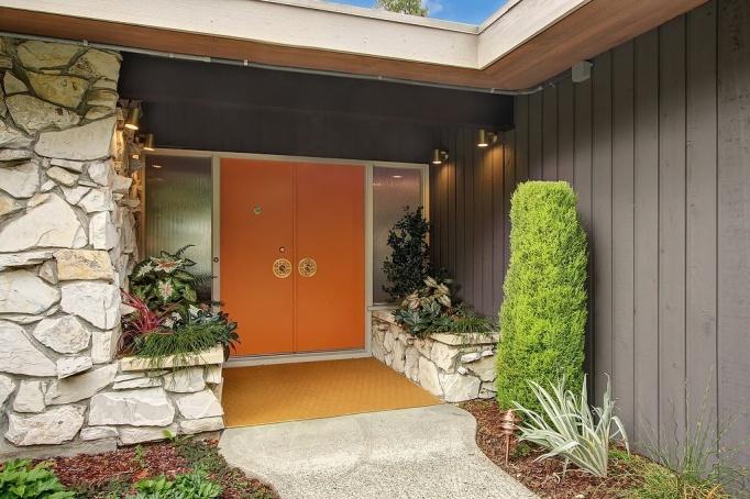 mid century orange doors escutcheon schlage