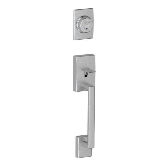 schlage century amazon brushed chrome mid century handleset door